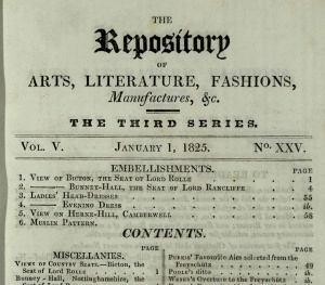 The table of contents for a typical issue of Ackermann's Repository. (Click to view the full page)