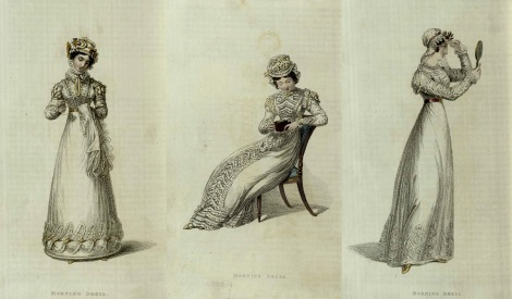 1820s Fashion plates from Ackermann's Repository featuring muslin gowns.