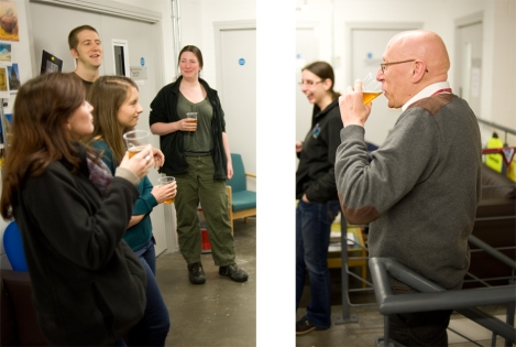 Brave members of the Special Collections staff sample the Scurvy-grass Ale!