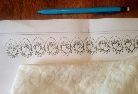 Tracing the pattern onto the linen. Because the fabric tended to move a bit during tracing, I didn't mark the position of each individual leaf, but just drew them in free-hand as I was ready to begin embroidering each motif.