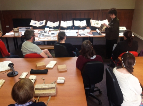 "Jean Johnstone presenting some of her inspiration from the Special Collections for her newly commissioned work ""A Special Collection."""