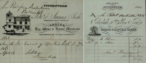 Receipts from James Tosh, Grocer, Pittenweem (1843) and Hellen Tod, Bread and Biscuit maker, Pittenweem (1863).