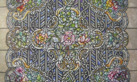 Detail of Louise Tiffany's design for the Rose Window from from The Art Work of Louis C. Tiffany