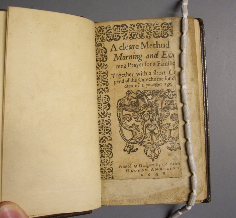 "Title page of the NLS copy of ""A cleare method for morning and evening prayer for a familie"" (shelfmark ABS.1.83.56(1), photo courtesy of Robert Betteridge and the NLS)"