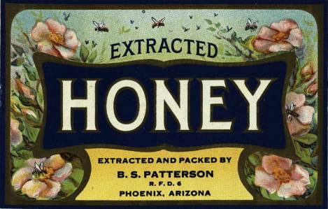 Sometimes you open a book and are amazed by what you find inside. This is one of the beautiful honey labels from Honey Labels Stationary, Bev SF525.B4S8;19.