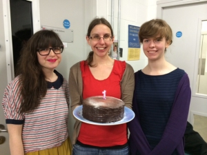 Happy First Birthday Lighting the Past! On the left is Cecilia Vinesse, one of the original members who started back in June 2013; in the middle, Briony Aitchison, Lead Cataloguer of the project; on the right, Morag Wells, the latest recruit, having started in February 2014.