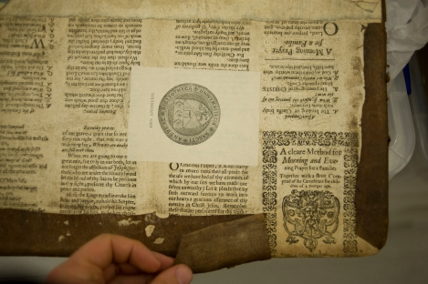 Uncovered: a very rare copy of a mid-17th century catechism printed in Glasgow, used as a paste-board (from St Andrews r17f DG676.3M7)