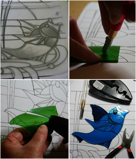 Stained glass work, step-by-step. Clockwise from top-left: The cartoon, glass cutting, glass breaking, fish cut out on cartoon.