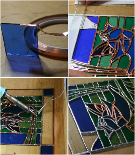 Stained glass work, step-by-step. Clockwise from top-left: Wrapping the glass, preparing the frame, showing beginning of soldering process, soldering almost complete.