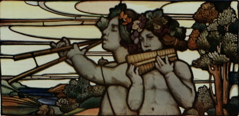 A segment of a stained glass window by William Morris, from the 1906 Special Edition of The Studio