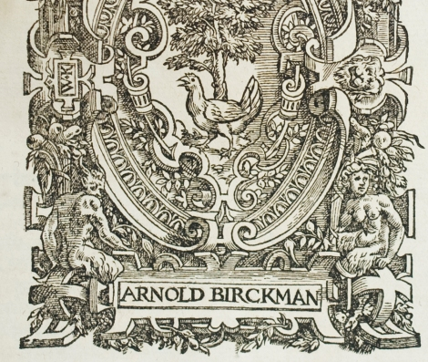 The lower half of the publisher's device of the mysterious Arnold Birckman
