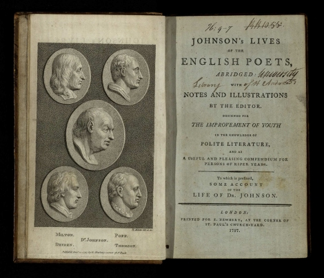 Johnson's lives of the English poets, abridged. London, 1797. St Andrews copy at s PR553.J6D97.