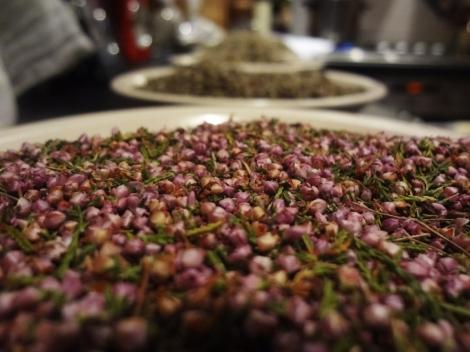 "Dried heather flowers sourced from the Czech Republic was my answer to Hollybush's ""heath or lynge"""