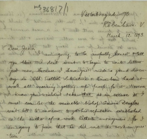 ms36817_1 WAC to Jessie, 1893 making a discovery about Bishop Gavin Douglas_1