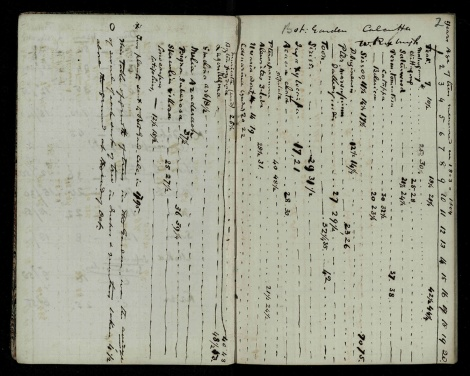 Table of Trees in Botanical Gardens of Calcutta, an extract from Cleghorn's diary, msdep53/9/6