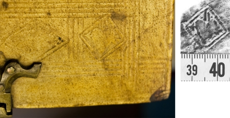 Detail of the heart-pierced-by-arrow stamp on St Andrews' TypIP.A89BA (left) and a rubbing from three different bindings found in the Herzog August Bibliothek at Wolfenbüttel