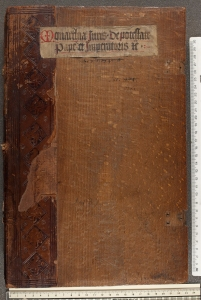 Front board of Hartmann Schedel's copy of Roselli's Monarchia, bearing similar stamps to the incunabula in question