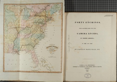02b Title page and fold out map showing Capt Hall's route through Canada and America in 1827 and 1828 [rfF1013.H2]_1
