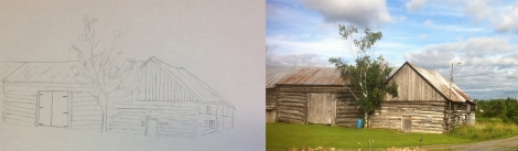 10 By my third drawing, I was making things a bit more complicated for myself. This group of log barns were a bit of a chore and took a good long while to draw_1