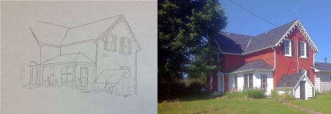 13 My fourth and final lucida drawing, 1820's farmhouse in Eastern Ontario, Canada_1