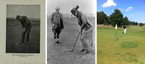 Baird's stance from Golf Guide; Cowie's photograph of a Lady Golfer Putting (GMC-13-40.8) and putting at Kingarrock