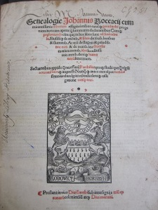 Title page of Genealogia Deorum Gentilium TypFP.B11RB, signed by John Vaus.