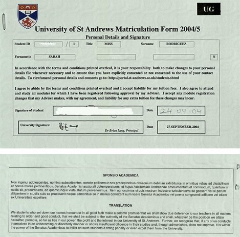 My first year matriculation form including the Sponsio Academica from 2004