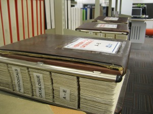As with the Author Catalogue, the Periodicals Catalogue is still available for consultation, on level 2 of the Library. It has grown from one volume in 1972/73 to three volumes in 2014.