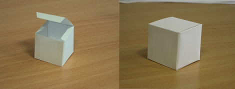 : My attempt at making the die, showing it just before the final edge it glued down, and then the finished article.