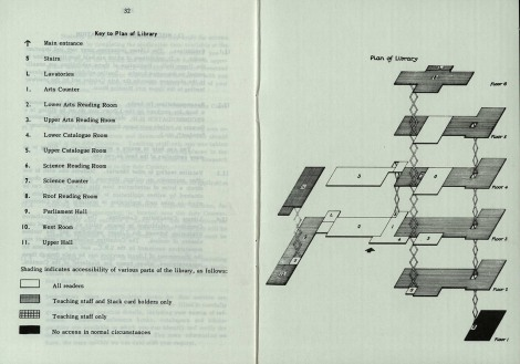 The key and plan of the Library, as it was in the academic session 1972/73.