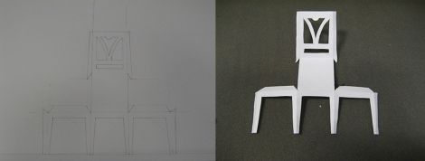 My drawing of the chair template, and the cut-out template ready for assembly.