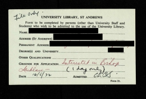 "An example of a registration card for external readers of the library – note that they had to supply ""Grounds for Application"" (UYLY/203/1)."