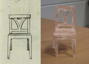 The illustration of the chair as given in the book, and my second attempt.