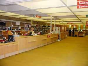 The Service Desk in the Main Library before the recent refurbishment, with the very 1970s mustard-coloured carpet.
