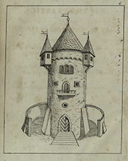 "Illustration of a model tower which can be made. In the second edition this picture is in colour, ""to give young artists some idea how to proceed in colouring""."