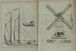 Pictures of a sledge, boat, and windmill, just some of the items which can be made by paper modelling.