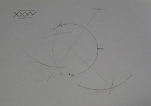 "My attempt at exercise 35, ""To draw a circular Arch through three given Points which are not in a straight line""."