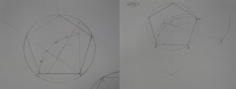 On the left, my attempt at drawing the pentagon before I'd read exercise 35 (the circle was drawn in afterwards, but I failed to locate the centre point), and on the right my attempt afterwards, where the arches to locate the centre of the circle can be seen.