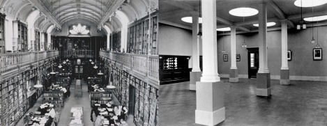 On the left, the Arts Reading Room of the Library in 1965, an extension built in 1888-89; on the right, the Science Reading Room in 1911, in the Carnegie Building extension of 1909. These were the two main reading rooms of the Library in 1972/73, and housed the books on open access in their respective subject areas. Photographs by G.M. Cowie (StAU-SouS-Lib-62) and Partick (StAU-SouS-Lib-21).