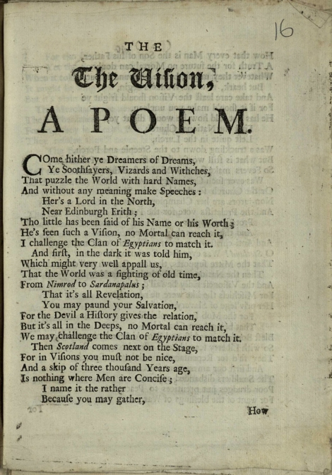 "The opening page of Daniel Defoe's anonymous ""The Vision"" (1706); St Andrews copy at r17 DA370.P8"