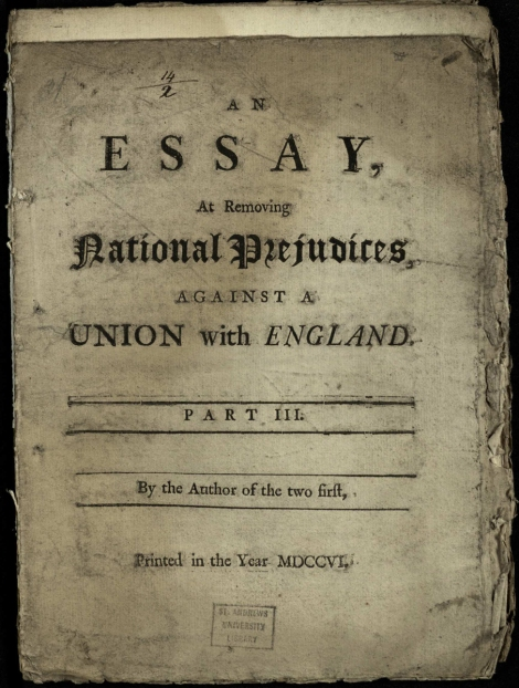 Title page to part 3 of Defoe's Essay at removing national prejudices against a Union with England (1706); St Andrews copy at r DA807.1D3D06