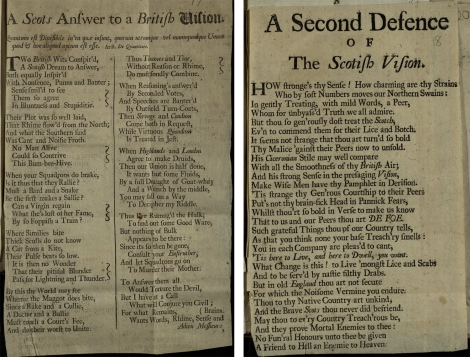 "Belhaven's anonymous ""Scots answer to a British Vision"" and ""A second defence of the Scotish Vision""  (1706); St Andrews copy at r17 DA387.P8"