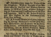 Advertisements for two pamphlets on the Union from the 7-9 October 1706 issue of the Edinburgh Courant