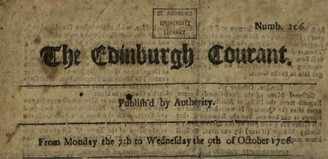 Header for the 7th-9th October 1706 Edinburgh Courant (n. 206); St Andrews copy at TypBE.D06AS