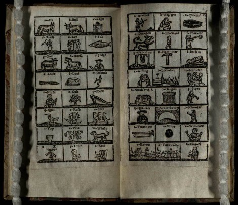 These fun illustrations from 'The London Spelling-Book' shows a series of pictures, each representing a letter of the alphabet (St Andrews copy at r LB1526.3U8)]