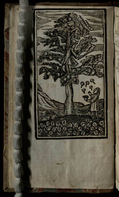 Two men collect apples from a tree.  The apples which have fallen to the ground have the letters of the alphabet on them (The London Spelling-Book, St Andrews copy at r LB1526.3U8)]