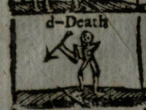 A closer look at part of the pictorial alphabet, showing a skeleton that represents 'D is for death' (St Andrews copy at r LB1526.3U8)]
