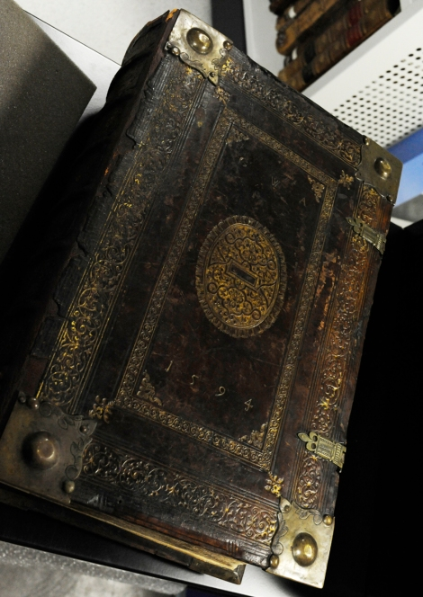 The late-16th century binding found on  St Andrews' newest Bible acquisition (Bib BS239.B89)