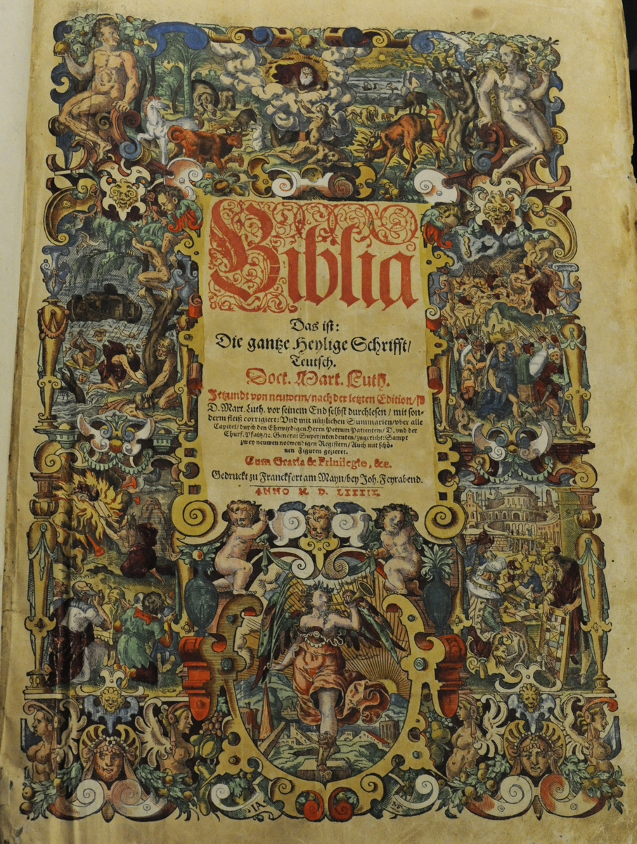 Hand-coloured title page to a 1589 edition of Luther's Bible (St Andrews  copy