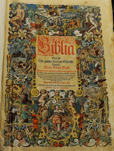 Hand-coloured title page to a 1589 edition of Luther's Bible (St Andrews copy Bib BS239.B89)